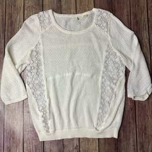 ANTHRO Knitted & Knotted Crochet Knit Sweater